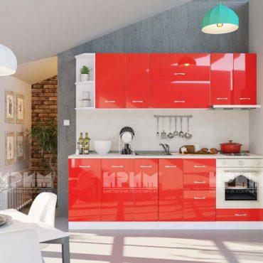 Модулни кухни CITY - Червено гланц хайглос / Бяло гладко