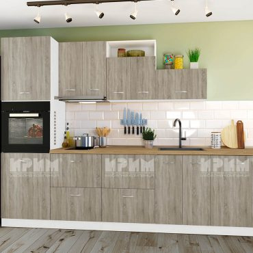 Модулни кухни CITY - Сонома тъмна / Бяло гладко